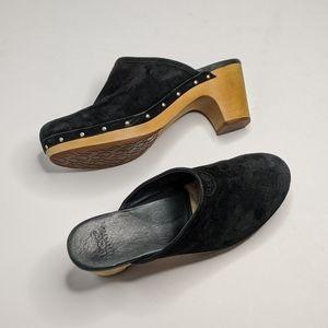 Ugg Abbie Black Suede Slip On Clogs